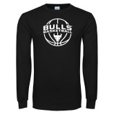 Black Long Sleeve TShirt-Bulls Basketball Arched w/ Ball