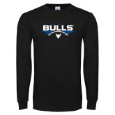 Black Long Sleeve TShirt-Bulls Football Horizontal w/ Ball