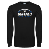 Black Long Sleeve TShirt-Buffalo Football Under Ball