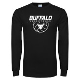 Black Long Sleeve TShirt-Buffalo Volleyball Stacked w/ Ball
