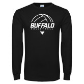 Black Long Sleeve TShirt-Buffalo Volleyball Stacked Under Ball