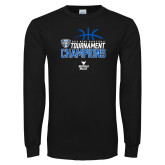 Black Long Sleeve T Shirt-2018 Mens Basketball Champions - Stacked