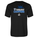 Performance Black Tee-2018 Mens Basketball Champions - Stacked