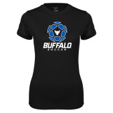 Ladies Syntrel Performance Black Tee-Buffalo Soccer Geometric Ball