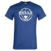 Royal T Shirt-Bulls Basketball Arched w/ Ball