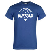 Royal T Shirt-Buffalo Volleyball Stacked Under Ball