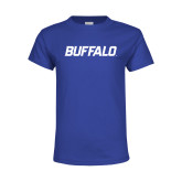Youth Royal T Shirt-Buffalo Word Mark
