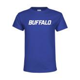 Youth Royal T Shirt-Buffalo Word Mark