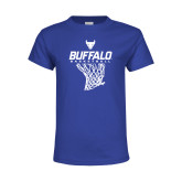 Youth Royal T Shirt-Bufallo Basketball w/ Hanging Net