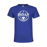 Youth Royal T Shirt-Bulls Basketball Arched w/ Ball