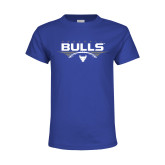 Youth Royal T Shirt-Bulls Football Horizontal w/ Ball