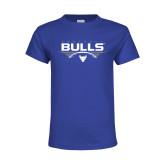 Youth Royal T Shirt-Bulls Football Horizontal w/ Ball
