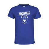 Youth Royal T Shirt-Bulls Football Vertical w/ Ball