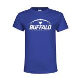 Youth Royal T Shirt-Buffalo Football Under Ball