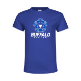 Youth Royal T Shirt-Buffalo Soccer Geometric Ball