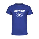 Youth Royal T Shirt-Buffalo Volleyball Stacked w/ Ball