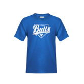 Youth Royal T Shirt-Bulls Baseball Script w/ Plate