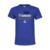 Youth Royal T Shirt-2018 Mens Basketball Champions - Stacked