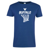 Ladies Royal T Shirt-Bufallo Basketball w/ Hanging Net