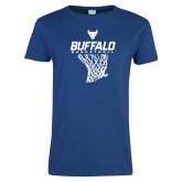 Ladies Royal T Shirt-Bufallo Basketball w/ Hanging Net