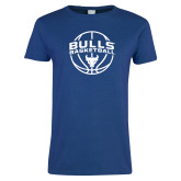 Ladies Royal T Shirt-Bulls Basketball Arched w/ Ball