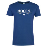 Ladies Royal T Shirt-Bulls Football Horizontal w/ Ball