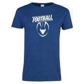 Ladies Royal T Shirt-Bulls Football Vertical w/ Ball