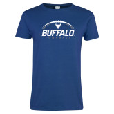 Ladies Royal T Shirt-Buffalo Football Under Ball