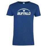 Ladies Royal T Shirt-Buffalo Football Under Ball
