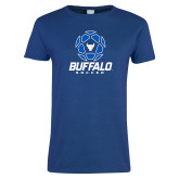 Ladies Royal T Shirt-Buffalo Soccer Geometric Ball