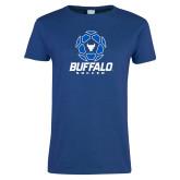 Ladies Royal T Shirt-Buffalo Soccer Geometric Ball