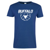 Ladies Royal T Shirt-Buffalo Volleyball Stacked w/ Ball