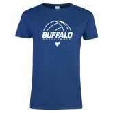 Ladies Royal T Shirt-Buffalo Volleyball Stacked Under Ball