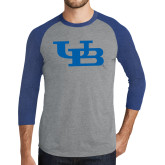 Grey/Royal Heather Tri Blend Baseball Raglan-Interlocking UB