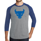 Grey/Royal Heather Tri Blend Baseball Raglan-Bull Spirit Mark