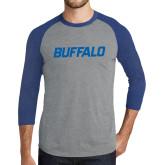 Grey/Royal Heather Tri Blend Baseball Raglan-Buffalo Word Mark