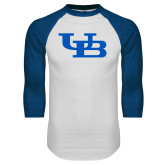 White/Royal Raglan Baseball T Shirt-Interlocking UB