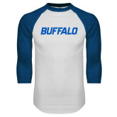 White/Royal Raglan Baseball T Shirt-Buffalo Word Mark