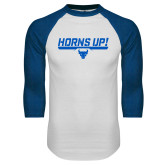 White/Royal Raglan Baseball T Shirt-Horns Up