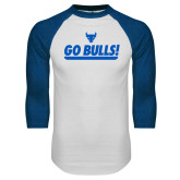 White/Royal Raglan Baseball T Shirt-Go Bulls
