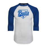 White/Royal Raglan Baseball T Shirt-Bulls Baseball Script w/ Plate