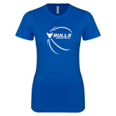 Next Level Ladies SoftStyle Junior Fitted Royal Tee-Bufallo Basketball w/ Contour Lines