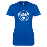 Next Level Ladies SoftStyle Junior Fitted Royal Tee-Bulls Basketball Arched w/ Ball