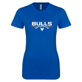 Next Level Ladies SoftStyle Junior Fitted Royal Tee-Bulls Football Horizontal w/ Ball