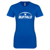 Next Level Ladies SoftStyle Junior Fitted Royal Tee-Buffalo Football Under Ball