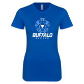 Next Level Ladies SoftStyle Junior Fitted Royal Tee-Buffalo Soccer Geometric Ball