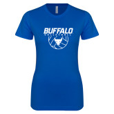 Next Level Ladies SoftStyle Junior Fitted Royal Tee-Buffalo Volleyball Stacked w/ Ball