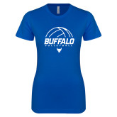 Next Level Ladies SoftStyle Junior Fitted Royal Tee-Buffalo Volleyball Stacked Under Ball