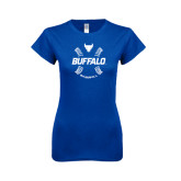Next Level Ladies SoftStyle Junior Fitted Royal Tee-Buffalo Baseball w/ Seams