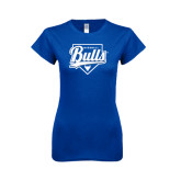 Next Level Ladies SoftStyle Junior Fitted Royal Tee-Bulls Baseball Script w/ Plate